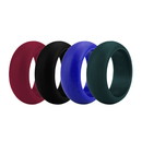 (Price/4 Pcs) GOGO Men's Silicone Wedding Rings Pack - 9 mm Wide (3 mm Thick) - Black, Dark Blue, Dark Green, Maroon
