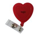 Custom Heart Plastic Retractable Badge Reel: (Pad Printing), 3 1/2