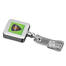 Custom Chrome Finish Jumbo Square Badge Reel (Label Only), 1 1/2