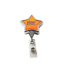 Custom Chrome Star Retractable Badge Reel: (Label Only), 3 1/2