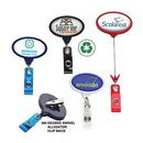 Custom Jumbo Oval Badge Reel: (Pad Printing), 2 1/8