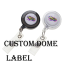Custom Round Solid Color ID Badge Holder Reel-Dome Label