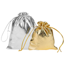 Aspire 100 Pieces Shiny Drawstring Pouch Bag, Golden / Silver Jewelry Bag - 3 Sizes