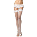 Muka Women's Thigh High With Lace Ruffle Trim, White