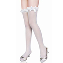 Muka White Knee Highs Stockings With Lace Ruffle And White Bow