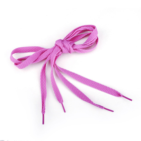 TopTie 100 Pairs Flat Shoelaces, Bright Pink, Breast Cancer Awareness Color