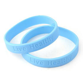 "GOGO ""Live Healthy"" Debossed Silicone Wristbands, Price/10 Pcs"