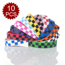 GOGO Plaid Silicone Wristbands, Rubber Bracelets, Hip-Hop Check Design, Price for 10 Pcs