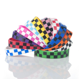 GOGO Plaid Silicone Wristbands, Rubber Bracelets, Hip-Hop Check Design, Party Favors, Price/10 Pcs