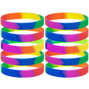 GOGO 10 Pcs Rainbow Pride Silicone Wristbands, Rubber Bracelets, Party Favors