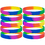 GOGO Rainbow Pride Silicone Wristbands, Rubber Bracelets, Party Favors, Christmas Gift Idea