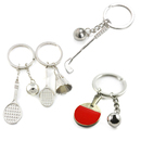Aspire Wholesale Sport Ball and Racket Key Ring Metal Keychain Mating Parts Golf Badminton Tennis Accessories