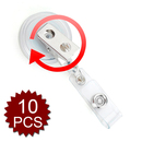 GOGO 10PCS Clear Badge Reel With Swivel Spring Clip