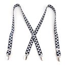 TopTie Elastic X-Back Clip Suspenders Children's Black & White Check Suspenders