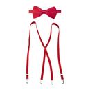 TopTie Men's Elastic Adjustable X-Back Clip Suspenders & Satin Bow Tie Set