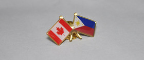 "Stock Canada & Philippines Friendship Flag Lapel Pins, 1.25"", Price/Piece"