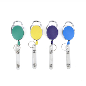 Carabiner ID & Name Badge Holder Reel, Opaque Blue, with Badge Clip and Key Ring, 200 PCS Packed