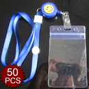 Officeship Plastic Smile Face Badge Reel With Lanyard And Badge Holder, Vertical, 50PCS/PACKED