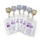 Officeship Flower Pattern Diamond Chroming ID Card Badge Reels With Clear Card Holder, 20PCS / PACKED