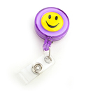 Officeship Purple Smile Face Badge Reel 50 PCS, With Key-ID-Badge-Belt Clip And Chain Pull