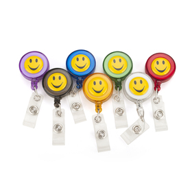 Officeship Retractable Smile Face Badge Reels 7 PCS, Assorted Colors