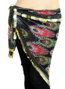 BellyLady Black Gold Coins Belly Dance Hip Scarf & Shawl With Peacock Design