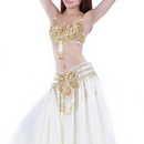BellyLady Belly Dance Professional Costume Set, Tribal Floral Bra and Belt