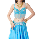 BellyLady Glamorous Belly Dance Bra Top, With 6 Rhinestones And Long Fringe