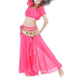 BellyLady Belly Dance Slitted Skirt With Ruffles