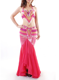 (Price/2 pcs) BellyLady Professional Dancing Costume, Tribal Halter Bra Top And Belt Set
