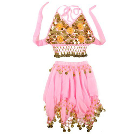 BellyLady Children Belly Dance Skirt & Halter Top Sets, Pink