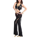 BellyLady Practice Belly Dance / Yoga Costume, Halter Tribal Top and Lace Pants