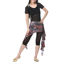 BellyLady Belly Dance Hip Scarf, Peacock Print Belly Dance Skirt with Ruffle