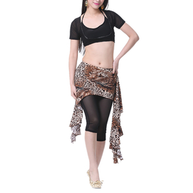 BellyLady Belly Dance Tribal Black Stripped Cotton Full Skirt with Ruffles
