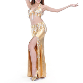 BellyLady Belly Dance Professional Dancing Costume, Gold Fringe Bra Skirt Set