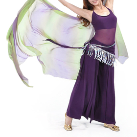 (Price/3 pcs) BellyLady Practice Belly Dance Unitard-Body Costume, Sleeveless Top & Matching Belt & Dancing Pants Set - Purple