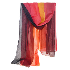 BellyLady Belly Dance Chiffon Veil For Belly Dancers, Black & Red