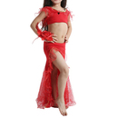 BellyLady Kid Tribal Belly Dance Costume, Top and Slitted Skirt with Ruffles