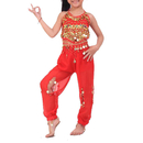 (Price/2 pcs) BellyLady Children Belly Dance Costume, Harem Pants & Top Sets, Red, Children's Day Gift Idea