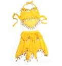 BellyLady Kid's Belly Dance Halter Top & Skirt, Halloween Costumes Set, Yellow