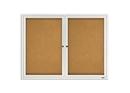 Quartet Enclosed Cork Bulletin Board for Indoor Use, 4' x 3', 2 Door, Aluminum Frame, 2364
