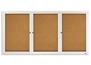 Quartet Enclosed Cork Bulletin Board for Indoor Use, 6' x 3', 3 Door, Aluminum Frame, 2366