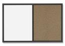 Quartet Standard Combination Whiteboard/Cork Bulletin Board, 4' x 3', Black Frame, S564