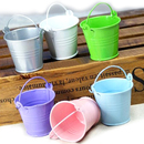 Idoo Assorted Pastel Colored Tin Pails Favor Boxes With White Organza Bags