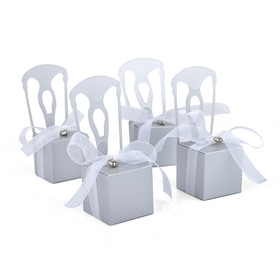 Idoo Miniature Silver Chair Favor Box with Heart Charm & Ribbon