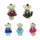 GOGO 4 Inch Stuffed Plush Bear Dress Bear, Pack Of 5, Valentine's Gift Idea, Party