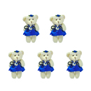 GOGO 4 Inch Stuffed Plush Bear Blue Bride Dress Bear, Pack Of 5, Valentine's Gift Idea