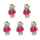 GOGO 4 Inch Stuffed Plush Bear Fuscia Bride Bear, Pack Of 5, Valentine's Gift Idea