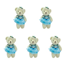 GOGO 4 Inch Stuffed Plush Bear Lakeblue Bride Bear, Pack Of 5, Valentine's Gift Idea
