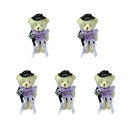GOGO 4 Inch Stuffed Plush Bear Light Purple Groom Bear, Wedding Favors